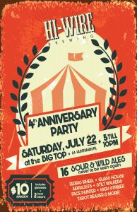 4th Anniversary Party @ Hi-Wire Brewing Big Top